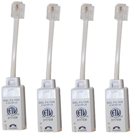 Actiontec Universally Compatible Inline DSL Phone Filters - 4 Pack (FLTR4DSL02),White