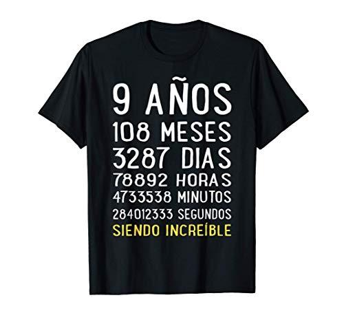 Divertido Regalo 9 cumpleaños niño niña Camiseta