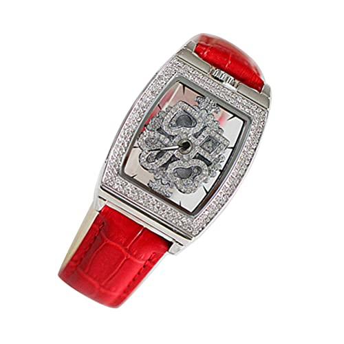 ifundom Vrouwen Horloge Diamond Boarded Horloge Meisjes Horloge Stijlvolle Student Horloge (Rood)