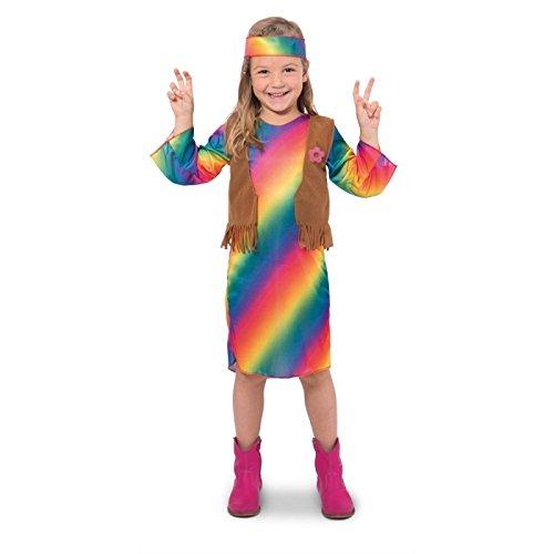 Folat - Hippie jurk Flower Power Girls Medium veelkleurig