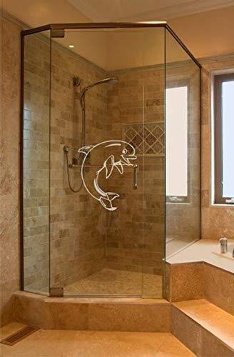 rs-interhandel Aufkleber Delfin Glasdekor Duschwand Dusche GD33 Fensterfolie wasserfest Folie Duschkabine