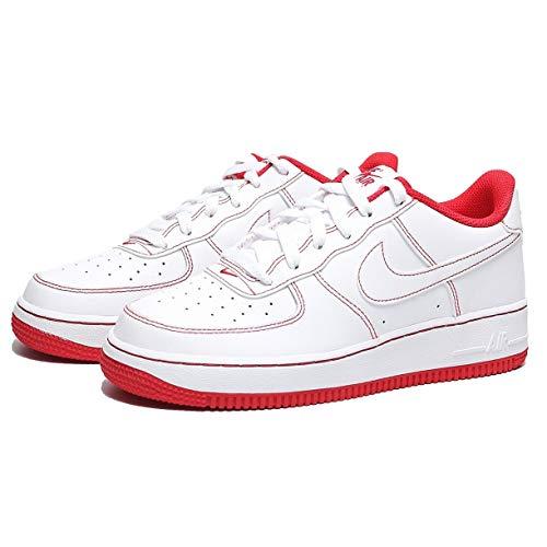 Nike Air Force 1 (GS), Zapatillas de bsquetbol, White White Univ Red, 37.5 EU