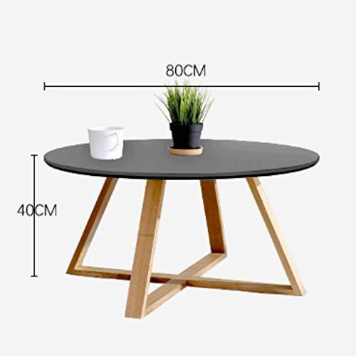 Table d'appoint Ronde de Table Basse en Bois de Style Japonais avec canapé en Bois Noir et Blanc (Couleur : Noir)
