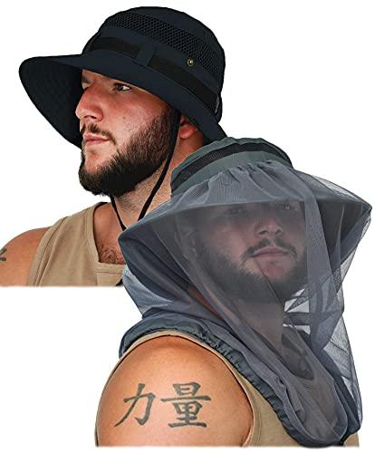 GearTOP Wanderer Sun Hat and Explorer Safari Hat with Mosquito Net Bundle