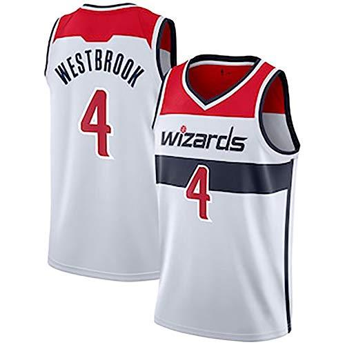 MAOMAOQUEENss Russell Westbrook Maglie da Basket da Uomo -Wizards 4# n-b-a Basket Swingman Edition Mesh Jersey Sport Vest Top T-Shirt,Senza Maniche con Gilet Sportivo Comodo e Antirughe,White-L