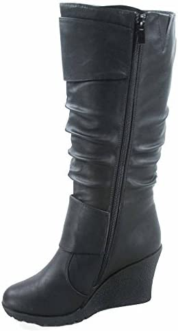 TOP Moda Pure-65 Women's Fashion Round Toe Slouch Buckle Wedge Mid Calf Boot Shoes