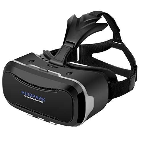 "Huispark Cuffie VR,Occhiali 3D Realtà Virtuale, Android iPhone 4.7 ""-6.0"" Pollici Smart Cell Phone (Nero-VR-203)"