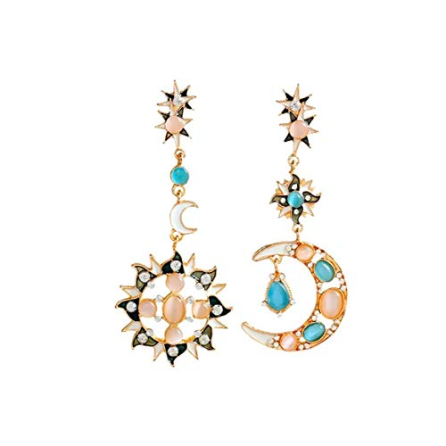 Hotaden 1 Pair Moon Sun Zinc Alloy Earrings Romantic Attractive Special Opal Sun and Moon Metal Earrings Drop Earring for Woman