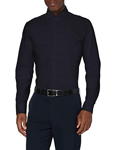 Seidensticker Slim Langarm Print Twill Camisa de Vestir para Hombre