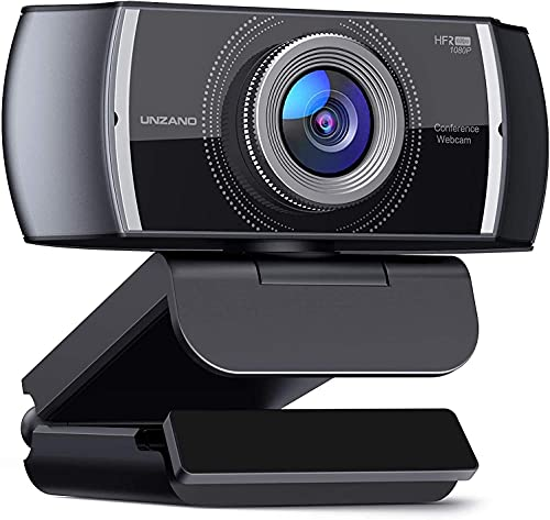 HD 1080P 60FPS Webcam with Microphone, Unzano Computer Web Camera, USB Camera, 120-Degrees Wide-Angle View, Plug and Play, for Conference Online Teaching Laptop PC Mac Zoom Skype YouTube