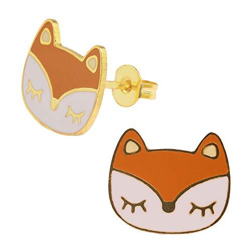 Monkimau Oorbellen voor meisjes, wasbeer, kop, oorstekers van messing, verguld met 18 karaat goud, verguld