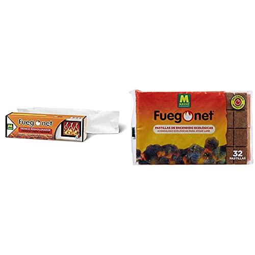 Fuegonet 231168 Tronco Deshollinador, Mezclas, Marrón, 27.7X7.7X7.7 Cm +, Pastillas de Encendido ecológicas para barbacoas y chimeneas, 1 Paquete de 32 Pastillas
