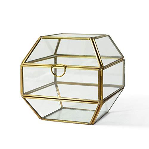 YZJL Schmuck-Organizer-Box, Kupfer-Glas, Schmuck-Organizer, 3 Etagen, hohe Kapazität, Schmuck-Vitrine