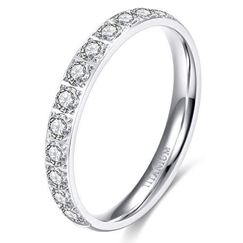 TIGRADE 3mm Womens Titanium Eternity Rings Half Cubic Zirconia Statement Wedding Engagement Band
