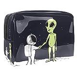 Kit de Maquillaje Neceser Extraterrestres astronautas espaciales Make Up Bolso de Cosméticos Portable Organizador Maletín para Maquillaje Maleta de Makeup Profesional 18.5x7.5x13cm