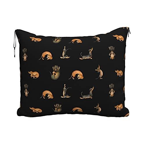 Manta de viaje portátil para viaje, 2 en 1, para sofá, oficina, hogar, dormir, siesta, yoga, perro salchicha, negro, pequeño