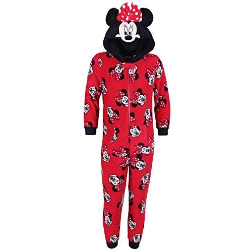 Disney Minnie Maus Ganzkörper Schlafanzug Schlafoverall Onesie mit Kapuze Rot - 5-6 Jahre 116 cm