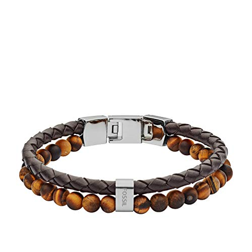 Fossil Men's Casual Genuine Leather and Beaded Bracelet