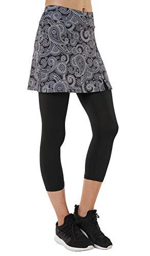 Westkun HonorSport Caprihose Leggings mit Rock Seitenschlitz Tennisrock, M/EU40-42/Taillenumfang:73-79cm, Paisley