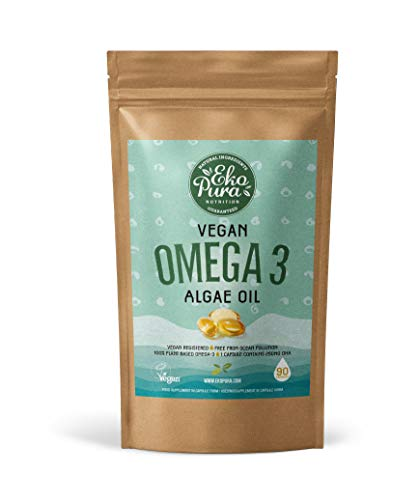 Vegan Omega 3 - Algae Oil, 90 Small Capsules (250mg DHA/Capsule), 3 Month Supply - Sustainable Alternative to Fish Oil