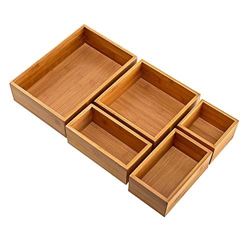 Seville Classics Bamboo Eco-Conscious Organizer Box Set Art Crafts Pens Holder Junk Drawer Utensils, Makeup, Silverware, Cutlery, Mail, 5 piece Tray