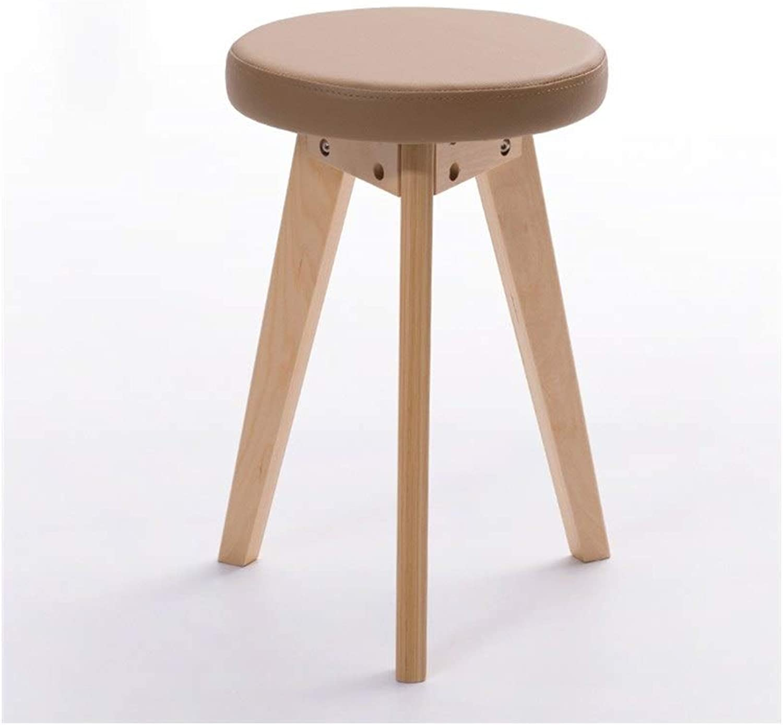 European Chair Fashion Creative Stool, Simple Stool Wood Stool Home Leather Stool Fabric Dining Stool Dressing Stool (color   E)