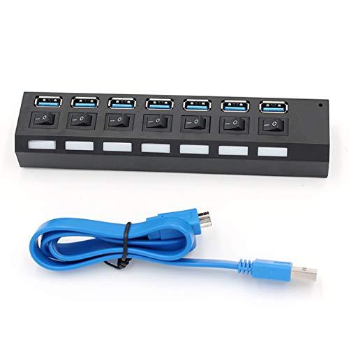 Nicoone Hub USB 3.0 de 7 Puertos Hub USB Alimentado 3. Divisor de Súper Velocidad de 0 5Gps con Interruptores Individuales Hub de Datos USB 3.0 de 7 Puertos para Computadora Portátil Pc