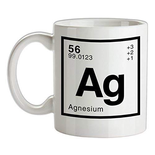 N\A Agnes - Taza de café Blanca de cerámica del Elemento periódico