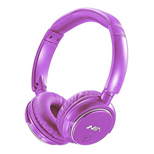 Oqqo Auriculares Bluetooth 4.2 Auriculares de música estéreo inalámbricos con Control de aplicación Tarjeta TF para Colocar sobre la Oreja Radio FM Auricular con Cable Plegable Purple