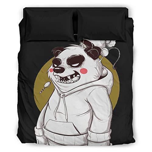 MiKiBi-77 Juego de ropa de cama Panda de 4 piezas Natural – Juego de cama King de 4 piezas blanco 240 x 264 cm