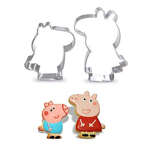 Antallcky Pig Piglet Cookie Cutters Stainless Steel Biscuit Molds Fondant Cookie Cutter Set Pastry Mold for Making Peppa Shaped Foods-2 Pack