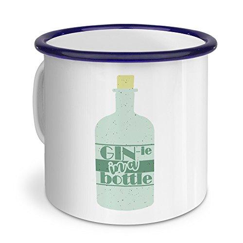 printplanet Emaille-Tasse mit Spruch: Gin-ie in a Bottle - Metallbecher mit Design Layout - Nostalgie-Becher, Camping-Tasse, Blechtasse, Blau