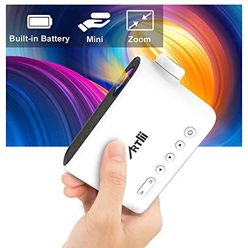Mini Proyector Portátil con Batería, Artlii Q Proyector para Movil, Micro Proyector Soporta Zoom, Sueño Automático