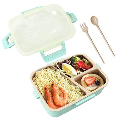 JIANGAA Caja for Adultos, 3 Compartimiento con la Cuchara Tenedor Caja de Almuerzo de Comidas de preparación Contenedores for Niños - Horno de microondas, lavavajillas y el congelador (Color : Green)