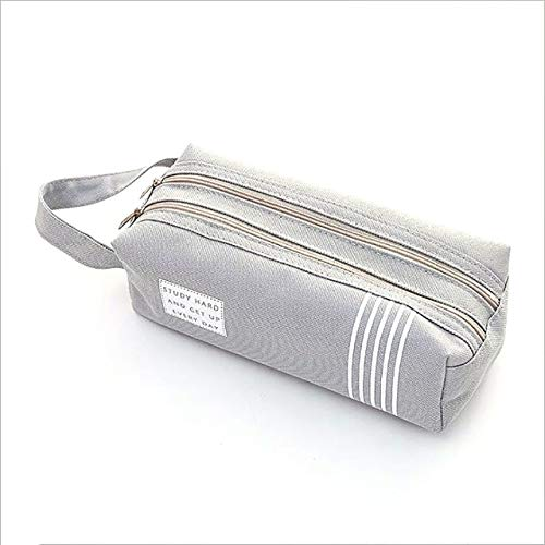 SFACN Doppel-Reißverschluss Große Tasche Kawaii Schule Bleistift-Box Mädchen Schreibwaren Große Box Federkasten Boxsack (pink),Bürostudium liefert (Color : Gray)