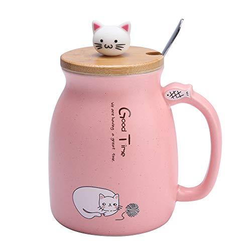 Tasse Keramik Tee-Ei Tasse, 420 ml Schöne Katze Keramik Tasse mit Löffel und Holzdeckel Kaffee Wasser Milch Becher für Drink Geschenk für Freunde oder Familie(Rosa)