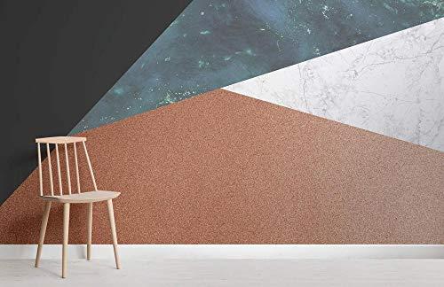 Mural de pared geométrico de cobre y jade 350×245cm