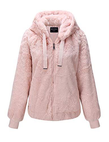 Bellivera Damen Kunstfelljacke mit 2 seitlichen Eingrifftaschen Der Mantel mit Kapuze