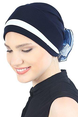 Deresina Headwear Gepolsterte und Gefalteter Kopfbedeckung (Navy/Cream)