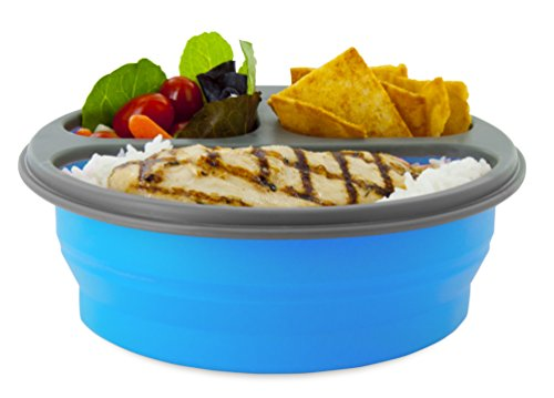 Smart Planet Portion Perfect Lunch Perfect Round 3-Compartment with Spork Meal Kit, 32 oz, Blue