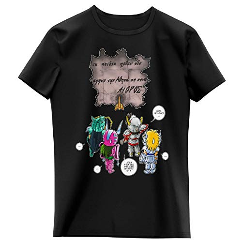 T-shirt Enfant Fille Noir parodie Saint Seiya - Seiya, Shiryu, Hyoga et Shun dans la maison d'Aioros - 4 touristes japonais perdus en Grèce... (T-shirt enfant de qualité premium de taille 3-4 Ans -