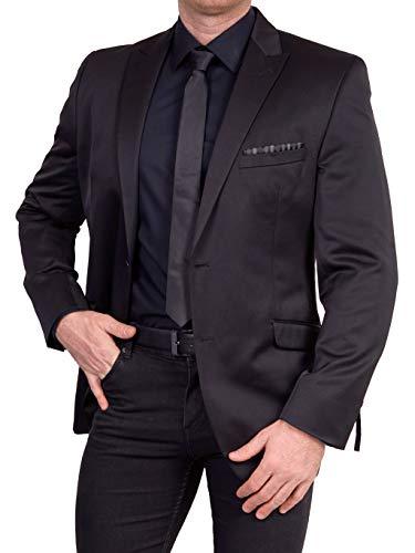 Unbekannt Herren Sakko Regular Fit klassisch Reverskragen Blazer Zweiknopf Jackett Anzug Slim Fit bequem, Größe 50, schwarz-grau
