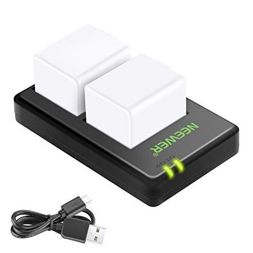 Neewer Kit di Batterie & Caricatore A1 Sostitutivo Compatibile con Videocamere a Circuito Chiuso Arlo Pro, Arlo Pro 2 (2 Batterie a Litio Ricaricabili 7,2V 2440mAh & Doppio Caricabatterie a USB)