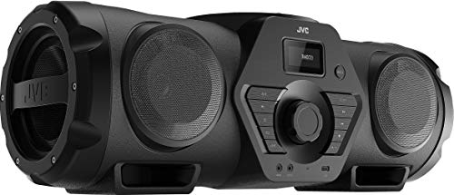 JVC Boomblaster RV-NB200BTBP, 2 x 30 Watt, UKW, Bluetooth, CD, USB, Line-In, Gitarren- & Mikrofoneingang, Fernbedienung, inkl. Akku