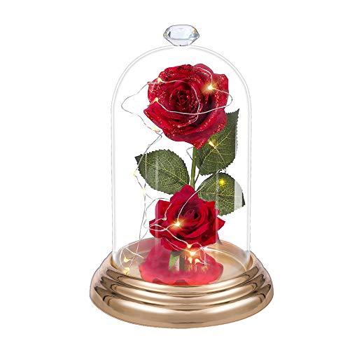 Rosa Eterna,La bella e la bestia Rosa Eterna Lampada Bicchiere Cupola di Vetro Incantata con Luci LED Base Pino Ragazza Regali di Natale San Valentino Anniversario Compleanno Decorazione