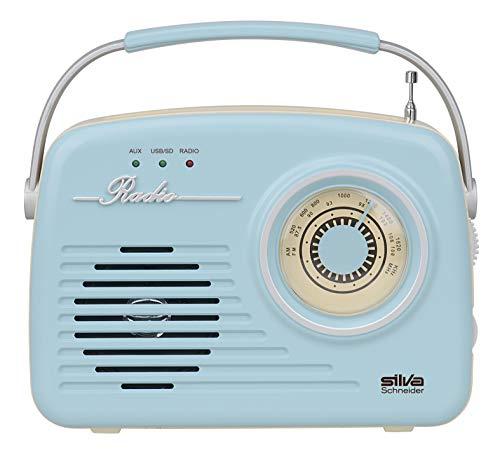 Silva-Schneider Mono 1965 - Radio con Maleta, Funciona con Pilas o con Pilas, Color Azul