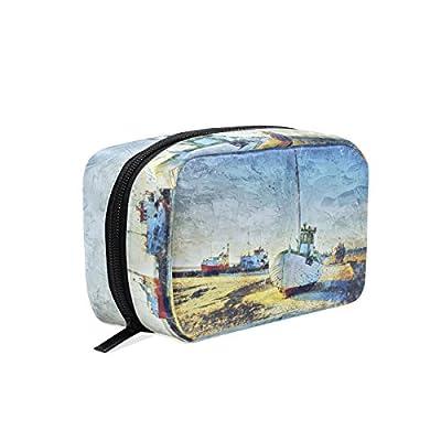Bennigiry Blue North Sea Fishing Boat Travel Toiletry Cosmetic Bag Makeup Bag Organizer Multiple Function Travel Bags