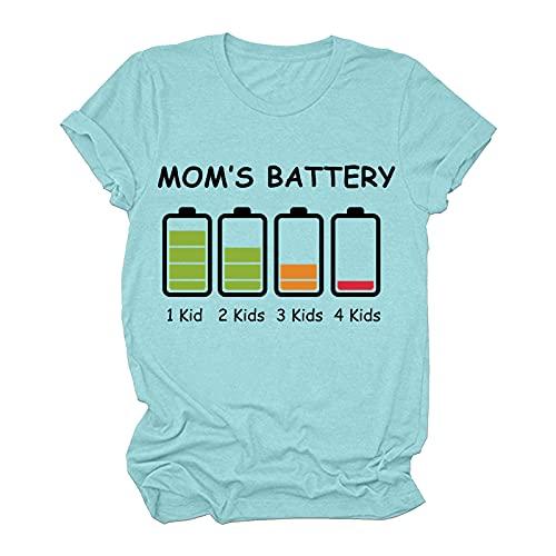 hainJS MOM'S Battery - Camiseta divertida de verano para mujer, manga corta, cuello redondo, básica, blusa de verano azul celeste Medium-Large