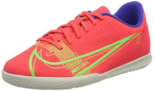 Nike Jr Vapor 14 Club IC, Football Shoe, Bright Crimson/Metallic Silver-Indigo Burst-White-Rage Green, 35 EU