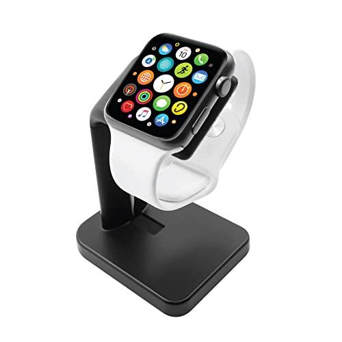 Macally Apple Watch Ladegerät Ständer für Series 7/6/5/4/3/2/1/SE (44 mm, 42 mm, 40 mm, 38 mm) - Minimalistisches iWatch Ladegerät Stand Dock - Die ideale Apple Watch Ladestation - Schwarz